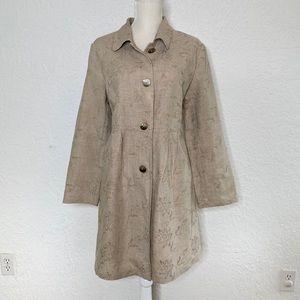 Jjill Embroidered Linen Long coat Jacket Sz M